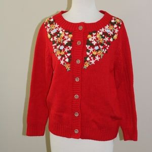 Vintage sweater POL embroidered Large RED